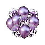 Amosfun Globo metálico de látex púrpura con Confeti para la Fiesta de cumpleaños Festival 10pcs