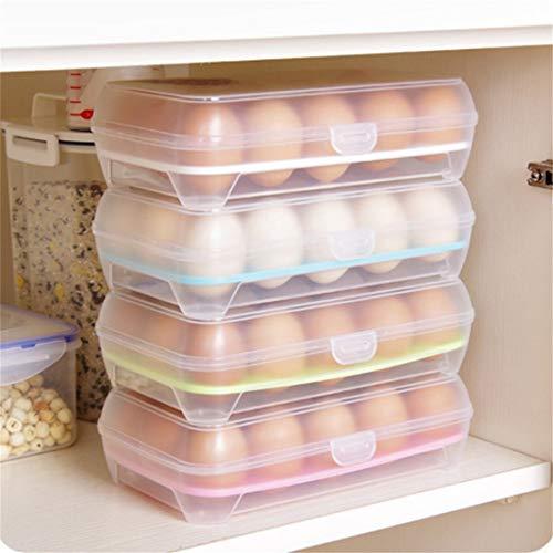 Szaerfa Porte-Oeufs pour réfrigérateur, boîte de Rangement en Plastique empilable pour Oeufs Plateau à Oeufs avec couvercles - Distributeur Transparent pour 30 Oeufs - 1 Paquet (Blanc)