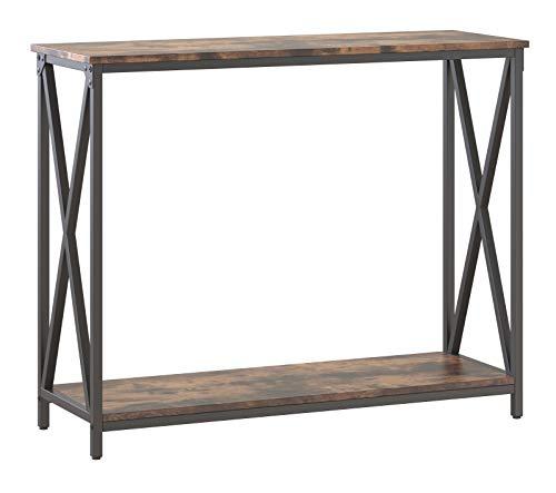 VASAGLE Mesa de Consola, Mesa de Entrada de 2 Niveles, con Barras en X, 100 x 35 x 80 cm, para Salón, Entrada, Estilo Industrial, Marrón Rústico y Negro LNT100B01