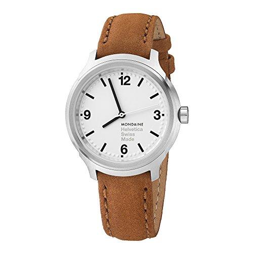 Mondaine Helvetica No 1 腕時計 メンズ (MH1.B3110.LG) スイス製 タンステッチ ブラウンレザーストラップ シルバーステンレススチールケース ホワイトフェイス ブラックの針と数字