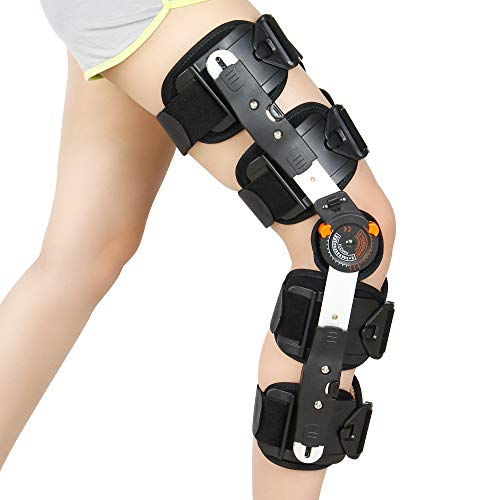 REAQER Hinged Knee Support Brace Dual Hinges and Adjustable Cross Straps Helps Stabilized Knee for Arthritic/ACL/Meniscus Tear/Sports Injuries/Walking Running
