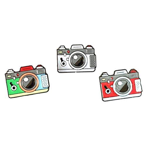 HEALLILY 3ピースカメラブローチピンラペルブローチバッジピン用服バッグバックパックジャケット(赤+緑+グレー)