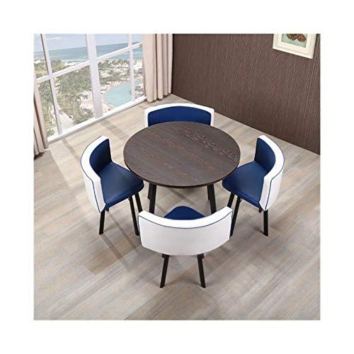 TXOZ-Q Negociación de la Vendimia de Casa de los Cátedra de 5 Piezas de combinación Redondo Simple recepción del Cuero del Ocio Café Asiento del sofá Salón (Color : White+Blue)