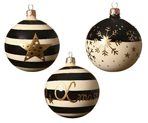 KAE - Set di 3 Palline per Albero di Natale, Stile Contemporaneo, Colore Nero, Bianco e Oro, 8 cm