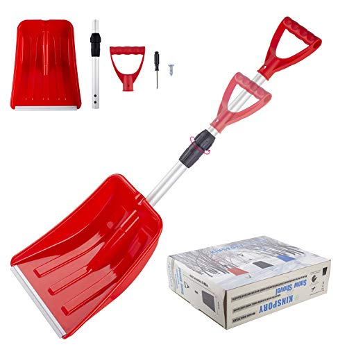 KINSPORY Portable Extendable Emergency Snow Shovel, Adjustable Handle, Heavy Duty Aluminum Shaft for Car Snow Removal, Garbage Wipe Out, Shovel  Soil (Red)
