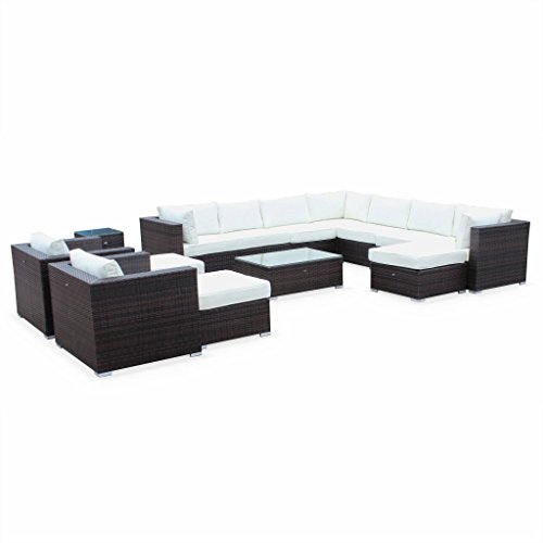 Alice's Garden - Mueble de Jardin, Conjunto Sofa de Exterior, Ratan Sintetico, Resina Trenzada - Marron/Marron, Cojines Crudo - 13 plazas - Tripoli