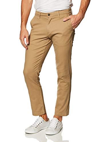 Amazon Essentials - Pantaloni kaki elasticizzati da uomo, stile casual e rilassato, Beige (Dark Khaki), W36 x L32