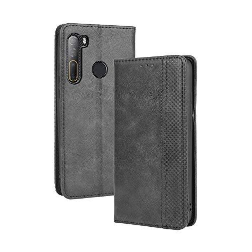 LAGUI Compatible para Funda HTC Desire 20 Pro, Carcasa Tipo Libro Protector Magnético y Plegable de PU Soporte de Ranuras para Tarjetas, Negro