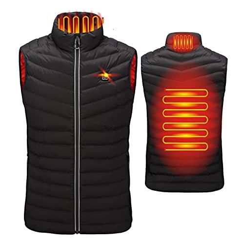Way bocke Chaleco calefactable, Chaqueta térmica de Cuello Alto Inteligente de Temperatura Constante con calefacción eléctrica USB de grafeno para Hombres,2,XXL