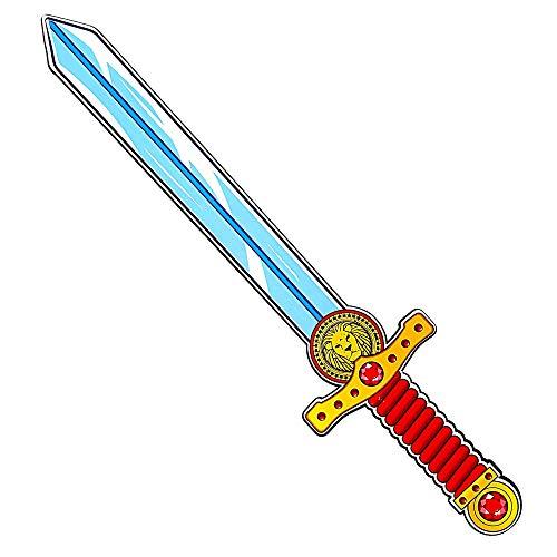 Con la spada a forma di cuore di leone, per bambini, la fantasia non avrà limiti La spada, della ditta Widmann, è realizzata in gommapiuma ed è molto flessibile Il manico è stampato con diamanti rossi e un simbolo di leone La spada è ideale per gioca...