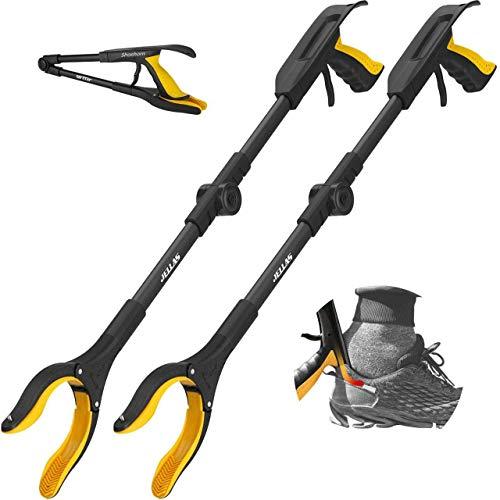 Jellas 2 Stück Faltbare Greifer mit Schuhlöffel, 0°- 180° abgewinkelter Arm, 80cm Langer Greif-Werkzeug mit Magnetspitzen für die Müllabfuhr, Abfallsammlung, Armverlängerung (gelb)