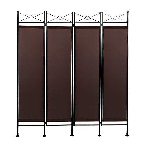 Todeco - Biombo, Divisor de Habitaciones - Panel: 100% Poliéster - Número de paneles: 4 - 180 x 160 cm, Marrón