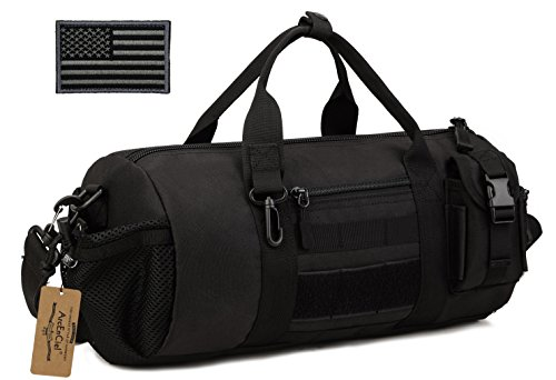 ArcEnCiel Tactical Duffle Bag Men Gym Pack Military Molle Shoulder Bags Shoes Storage Sports Handbag with Patch (Black)