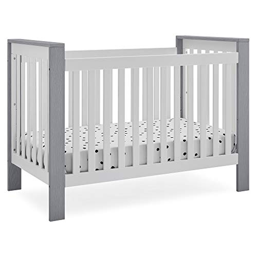 Delta Children Miles 4-in-1 Convertible Crib, Bianca White with Textured Cloud