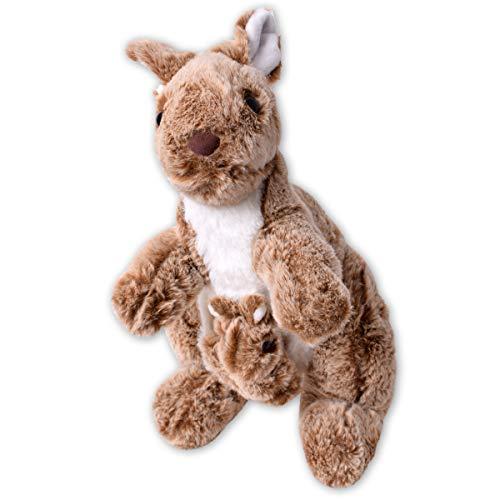 TE-Trend Felpa Canguro Kangaroo Plüschkänguru Peluche Kanguru Bebé Peluche Animal de Tela 30cm Braun
