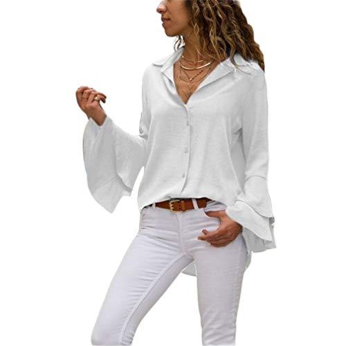 Honghu Blusa de Gasa para Mujer Camisa Victoriana de Campana de Manga Larga Camisas de Trabajo de Oficina Casual Tops Túnica S Blanca
