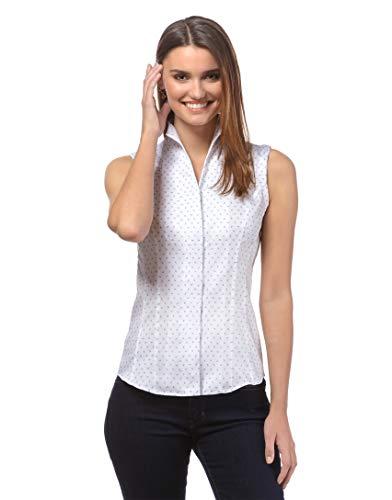 Vincenzo Boretti Damen Bluse mit Kelchkragen leicht tailliert 100% Baumwolle bügelleicht Kurzarm ärmellos Hemdbluse mit Stehkragen elegant festlich auch für Business weiß/blau 40