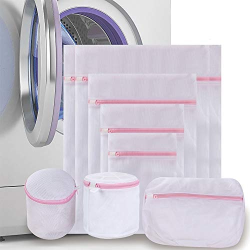 Qianchengda Trading Co Ltd Mesh Laundry Bags for Washing Machines Clothing Wash Bags with Zips Travel Storage Clothes Laundry Bags for Delicates Bra Underwear Blouse Stocking 8 Pack