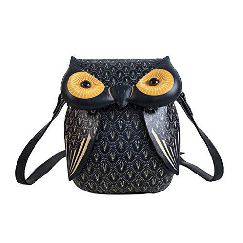 Generic Cute Owl Cartoon PU Leather Handbag Casual Satchel School Purse Shoulder Bag Crossbody Black