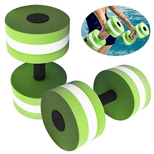 OSJDFD 1 Paar Hantel Schaum Aquatic Exercise Dumbbells for Wasser-Aerobic Wasser befüllbar Hanteln Fitnessausrüstung, Bester Auftrieb, Wasserbeständigkeit (Color : Green)