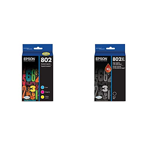 Epson T802520 DURABrite Ultra Color Combo Pack Standard Capacity Cartridge Ink & T802XL120 DURABrite Ultra Black High Capacity Cartridge Ink