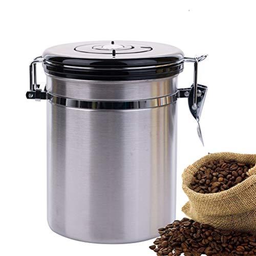 Soprety koffieblik luchtdicht voorraaddoos roestvrij staal aroma doos vacuüm doos voorraaddoos met aroma deksel voor koffiebonen poeder thee cacao muesli suiker (zilver)