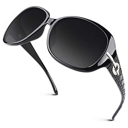 GQUEEN Übergroße Polarisierte Sonnenbrille Damen UV400 Schutz Vintage Fashion Trendy Sonnenbrille