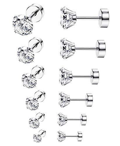 ORAZIO 6-8 Pairs 20G Stainless Steel Ear Stud Piercing Barbell Studs Earrings Round Cubic Zirconia Inlaid (B: 6 Pairs,White 20G(0.8MM))