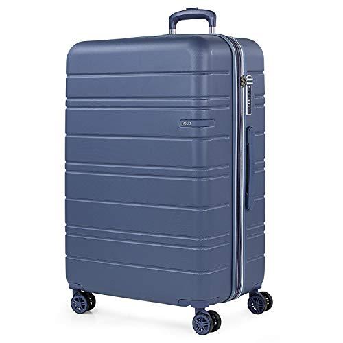JASLEN - Maleta Grande de Viaje 4 Ruedas Trolley Extensible Rígida de ABS. Dura Práctica Cómoda Ligera y Bonita Marca y Estilo. Candado TSA. Viajes Largos.171270, Color Azul
