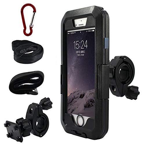 RUNEEE Motocicleta de la Bicicleta del Soporte del teléfono móvil de iPhone XS MAX X XR Impermeable 5 6 7 8 Plus a Prueba de Lluvia (Color : Black, Size : Iphone8)