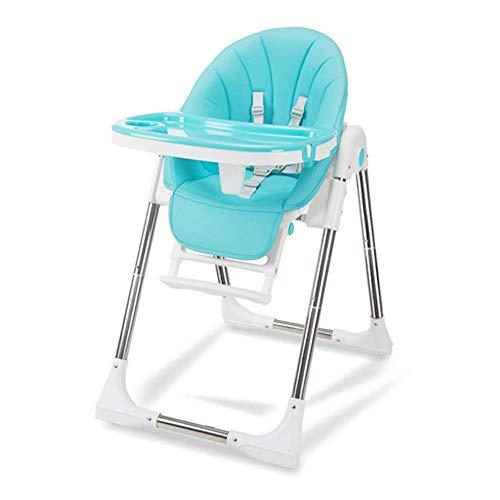 YLCJ hoge stoelen voor eettafelstoelen, voor baby, veiligheidsgordel, draagbaar, opvouwbaar en multifunctioneel (kleur: groen, maat: groot) Large Blauw