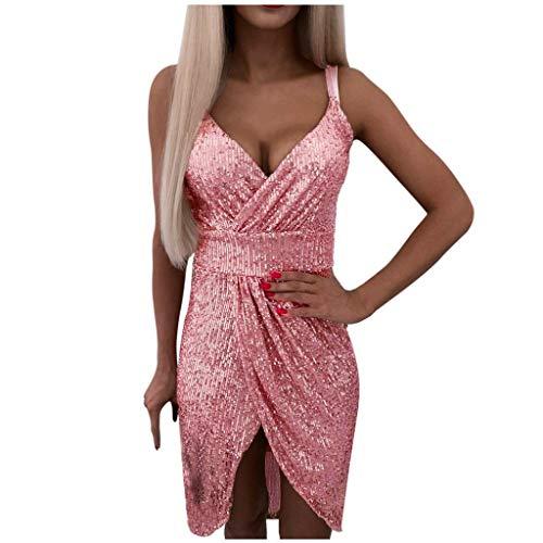 Auifor Vrouwen-aantrekkelijke vereniging met V-hals glitter-pailletten-splice-party-avond-cocktail-mini-jurk