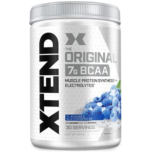 Poudre XTEND Original aux BCAA - framboise bleue   complément alimentaire aux acides aminés ramifiés   7 g de BCAA + électrolytes pour récupération et hydratation   30 portions