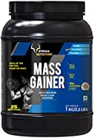 Strava Nutrition Mass Gainer with Whey protein, Ashwagandha extract and digestive enzymes (Strawberry Flavour) 1kg / 2.2 lbs