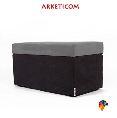 NEUF!!! Arketicom PANDORA Pouf de Rangement Cube CONTAINER Puff Repose-pieds Rembourré Banc Design Tissu Moderne MICROFIBRE Fabriqué à la Main en Italie, Structure bois Massif, Assis PU Coffre Box (Gris, 84 x 42 x 42h)