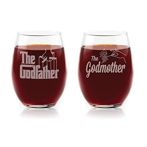 Godparent Wine Glass Gift Set Stemless Officially Licensed Collectible Premium Etched By Movies On Glass 15 Ounces