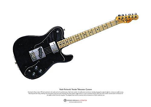 George Morgan Illustration Keith Richards' Fender Telecaster Custom Art Poster A3-Format