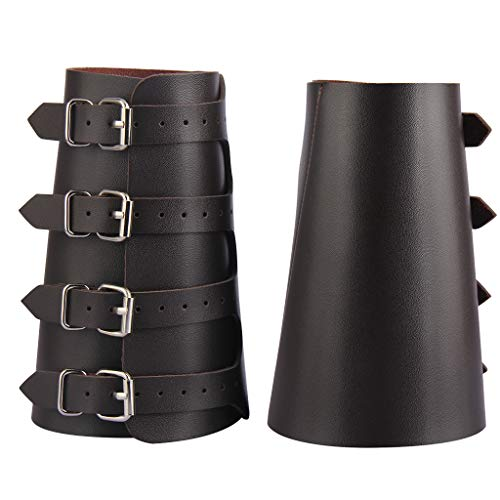 AZORA Leather Gauntlet Wristband Medieval Bracers Wrist Band Buckle Wide Bracer Arm Armor Cuff 2 Pcs (LB015-BROWN-2pcs)