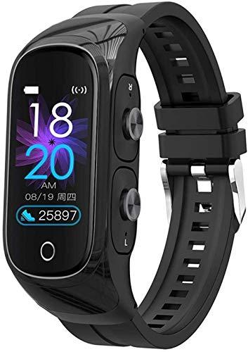 Pulsera de fitness 2 en 1 con auriculares inalámbricos Bluetooth, rastreador de actividad inteligente, reloj deportivo, podómetro, monitor de frecuencia cardíaca, cronómetro, pulsera inteligente, 4