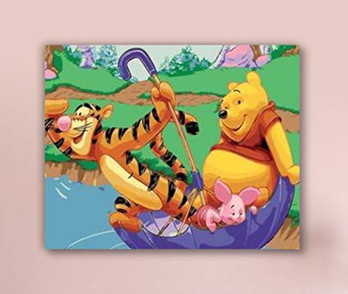 DIRART Rahmenlos DIY Digitale Malerei Malen Nach Zahlen DIY Winnie The Pooh Schlafzimmer Dekorative Gemälde 40X50Cm