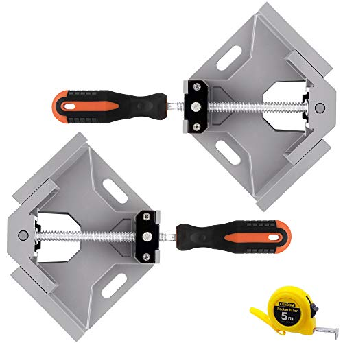 LEATBUY Angle Clamps 2pcs 90 Degree Corner Right Holder Welding Clamp, Vise Adjustable Swing Bench Tool, Perfect for Carpenter Wood-Working Engineering with a Tape Measure (Grey)