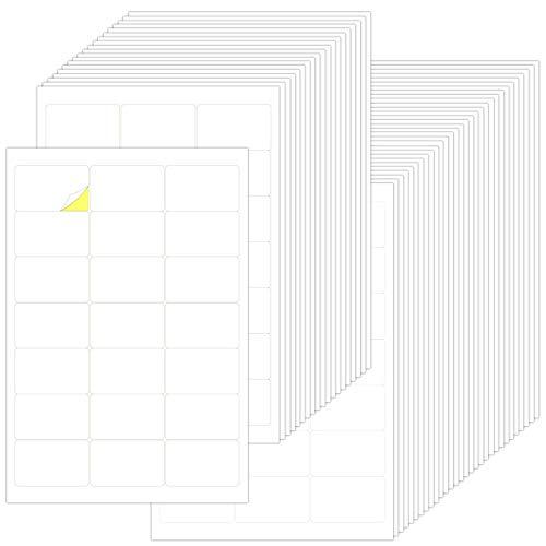 Weiß Aufkleber Etiketten Blatt, 21 pro Seite, 50 Blatt Universal Matte Etiketten, Haushalts Aufkleber Etiketten Blanko, Permanent Adressaufkleber Gefrieretiketten, Wasserdichte Etiketten Selbstklebend