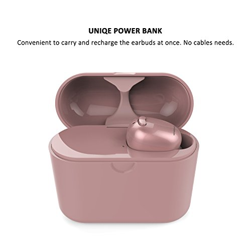 NENRENT S570+ Bluetooth Earbud,Smallest Mini Invisible V4.1 Wireless Bluetooth Earpiece Headset Headphone Earphone with 400mAh Charging Case Dock for Cellphone and more 1 Unit (Rose Gold)