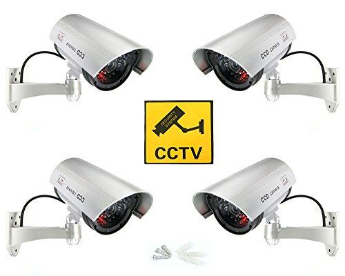 Dummy Fake Kamera Überwachungskamera Attrappe Videokamera mit roten LED (4X Dummy Kamera)