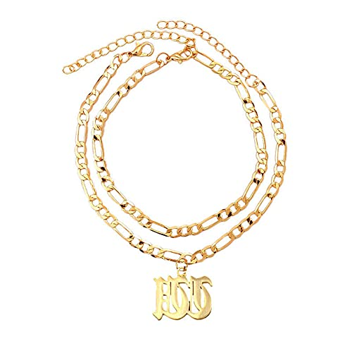 NIUBKLAS Tobillera Pulsera SZ Letter Tobilleras Mujer Oro Metal Letra Dirt Boho Pulsera Descalzo Pierna Sandalias Jewelry-W