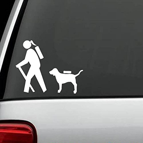 Bluegrass Decals Girl Hiker with Dog Hiking Camper Camping Decal Sticker