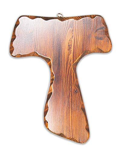 Kruzifix Tau aus Holz - Wandkreuz - Made in Italy - (28 x 22)