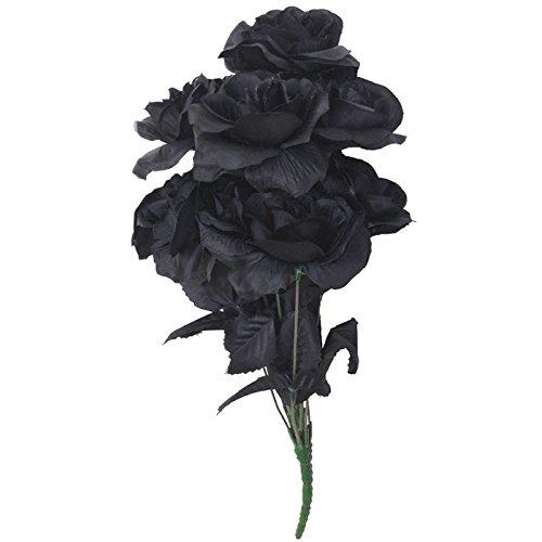 PARTY DISCOUNT Strauß Rosen, schwarz, 38 cm