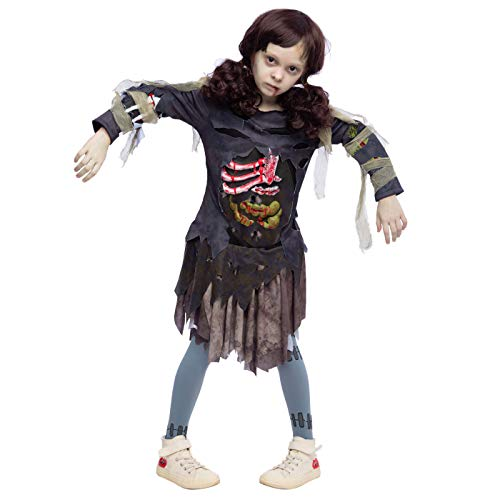 Scary Halloween Zombie Girl Living Dead Monster Child Costume for Girls (Small 5 – 7) Grey