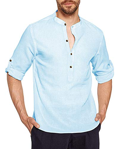 AUDATE Herren Freizeithemd Leinenhemd Button Rolled Up Langarm Henley Shirts Hellblau M